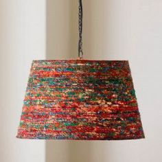 Reclaimed Sari Silk Hanging Pendant Lamp