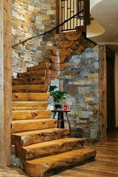 Rustic and log cabin living. Cottage Stairs, Log Cabin Homes, Log Cabins, Log Cabin Builders, Small Log Cabin, Rustic House Plans, Cabin House Plans, Stairways, Architecture
