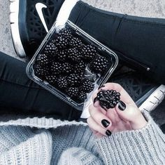 Image via We Heart It https://weheartit.com/entry/134853188 #berry #black #blackandwhite #blacknails #blackberries #dark #fruit #goth #grunge #healthy #indie #nailpolish #pale