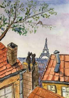 Cats in the Parish Illustration Française, Architecture Drawing Art, Arte Sketchbook, Mini Canvas Art, Cool Art Drawings, Colorful Drawings, Whimsical Art, Cat Art, Painting & Drawing