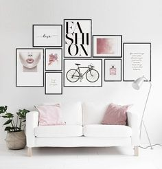 Wall decoration Living room Inspiration Wall decoration multiple photos on the wall Interior Design Living Room, Living Room Decor, Bedroom Decor, Wall Decor, Diy Wall, Living Area, Inspiration Wand, Wall Design, Design Art