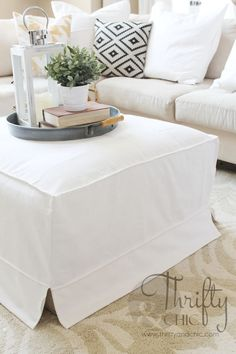 DIY Low Budget High End Styled- Year Round Chic Ottoman Slipcover