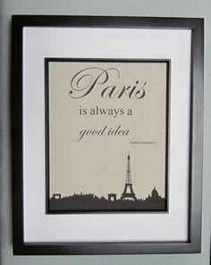 """Canvas Wall Decor - Print 8"""" x 10"""" - Paris Is Always A Good Idea - Paris Cityscape - Eiffel Tower - Audrey Hepburn Quote. $17.00, via Etsy."""