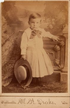 Antique Studio Cabinet Card Photo Boy N Dress Wisconsin Studio Big Hat Bow | eBay