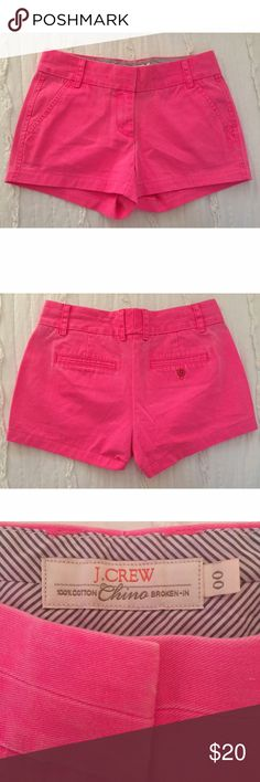 J. Crew chino shorts These chino shorts are J. Crew's classic fit and are the perfect bottoms to have in your wardrobe this summer! These bottoms are in a beautiful pink color are 100% cotton, machine washable, and have a zip fly Pair these shorts with your favorite button down or tshirt for a simple and chic everyday look! These shorts have been worn many be once and are in great condition⭐️✨⭐️ Make me an offer J. Crew Shorts