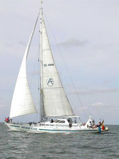 """""""Antwerp Flyer"""" is an alumimium, seagoing sailing yacht, designed by Ed Dubois (UK), which was launched in 1991."""
