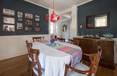 House Tour: Color and Pattern in a Rhode Island House Brown Furniture, Dining Room Furniture, Dining Room Table, Furniture Making, Dining Area, Staircase Pictures, Small Vanity, Bedroom Flooring, Hallway Decorating