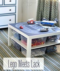 Lego road plates + IKEA Lack table = Lego organization and cool play table all in Lego Play Table, Lego Table With Storage, Ikea Lack Table, Lego Table Ikea, Lack Table Hack, Toy Rooms, Toy Storage, Storage Ideas, Ikea Storage