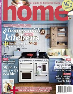 Introducing our latest cover! The August 2015 issue features 4 homes with clever kitchens, amazing competitions, stylish TV walls, pie recipes with crusts for banters and we focus on hedges - planting and trimming, we bake a piñata cake plus we show you how to make your own breadboards chop chop!