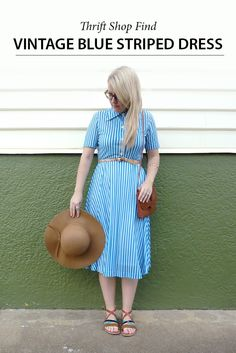 Vintage Blue Stripe Dress vintage, dress, op shop,  drift shop, shopping, fashion