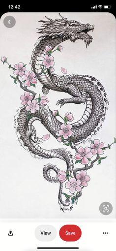Dragon Tattoo Drawing, Black Dragon Tattoo, Dragon Tattoo For Women, Japanese Dragon Tattoos, Dragon Tattoo Designs, Dragon Tattoo Flash, Dragon Tattoo Shoulder, Hip Tattoos Women, Dope Tattoos