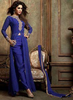 Diwali Special Blue Pant Style Salwar Suit