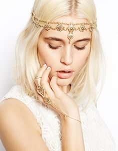 ASOS Premium Waterfall Headband & Hand Harness with Faux Pearl