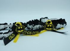 "Personalised ""Batman"" themed garter set. Garter Set, Heaven, Batman, Wedding Garters, Accessories, Sky, Heavens, Paradise, Bridal Garters"