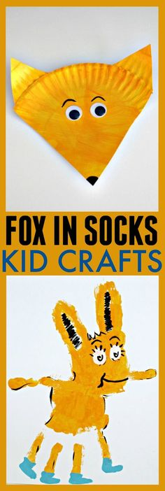 Fox in Socks Craft Ideas – Dr. Seuss Kid Crafts Looking for some crafts to create for Dr. Seuss's birthday? These 2 Fox in Socks crafts are super cute. They use minimal supplies so you probably already have them in your home. Dr Seuss Art, Dr Seuss Crafts, Dr Seuss Week, Dr Suess, Toddler Art, Toddler Crafts, Crafts For Kids, Toddler Learning, Early Learning