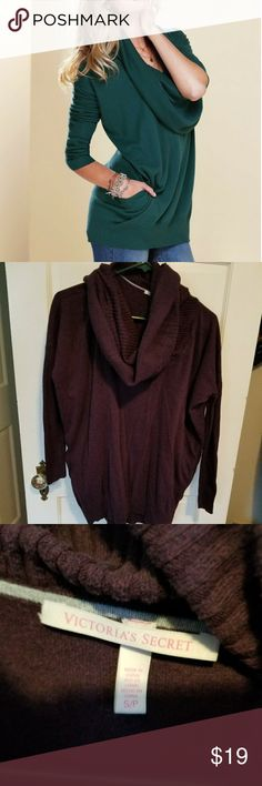 Victoria's Secret Sweater Picture is for reference. Nice purple color. The cowl neck is large enough to wear as a hoodie if needed during cold weather. It even has pockets. There are 2 small holes in the arm pit area. Victoria's Secret Sweaters Cowl & Turtlenecks