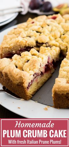 Plum Cake is a delicious coffee cake made with a simple batter, fresh plums, and a cookie-like nut-free streusel topping! This traditional German plum crumb cake is so easy to make from scratch and can also be baked on a sheet if you need to feed a crowd. Plum Recipes, Coconut Recipes, Baking Recipes, Sweet Recipes, Cake Recipes, Dessert Recipes, German Cakes Recipes, German Plum Cake, German Coffee Cake