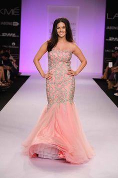 Jyotsna Tiwari Lakme Fashion Week Summer 2014 Sunny Leone mermaid pink Indian dress gown. More here: http://www.indianweddingsite.com/jyotsna-tiwari-lakme-fashion-week-summer-resort-2014/