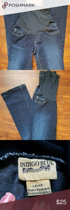Maternity jeans sz large indigo blue motherhood Super nice denim pants by indigo blue. Secret fit Tummy panel grows with your belly snd and super comfortable. Size large. No signs of wear. Feel free to ask questions or make a reasonable offer. Indigo Blue Pants Boot Cut & Flare