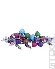 #96711 Vintage Jewel Floral Hair Barrette-Multi