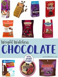 can eat chocolate on Weight Watchers plan! This list of low SmartPoint chocolate details some of the best chocolate for Weight Watchers. If you are looking for chocolate snacks you will love these. Weight Watcher Desserts, Weight Watchers Snacks, Plan Weight Watchers, Weight Watchers Tipps, Weight Watchers Smart Points, Weight Loss Snacks, Healthy Weight Loss, Weight Watchers Products, Weight Watchers Pasta