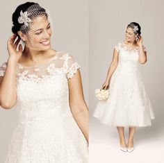 Wholesale 2015 Wedding Dress - Buy 2015 2014 New Classic Wedding Dresses Beach Plus Size Bridal Gowns With A Line Sheer Neckline Lace Tea-length Capped Short Sleeves, $132.61 | DHgate