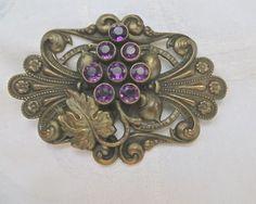Antique Art Nouveau Brooch Amethyst by VintageVogueTreasure