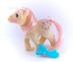 G1 My Little Pony So Soft Posey Complete With Brush NEAR MINT!  www.CuteVintageToys.com 💖 Hundreds Of  Vintage Toys From The 80s & 90s! Follow Me & Use The Coupon Code PINTEREST For 10% Off Your ENTIRE Order! 💌 Dozens of G1 My Little Ponies, Polly Pockets, Popples, Strawberry Shortcake, Care Bears, Rainbow Brite, Moondreamers, Keypers, Disney, Fisher Price, MOTU, She-Ra Cabbage Patch Kids, Dolls, Blues Clus, Barney, Teletubbies, ET, Barbie, Sanrio, Muppets, Sesame Street, & Fairy Kei…