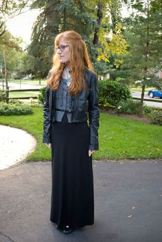 maxi dress for fall.  cardigan + leather jacket