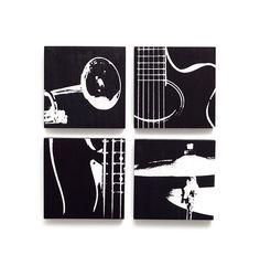 Music Wall Art Set of 6 x 6 Guitar, Trumpet, Bass, Cymbal Wood Canvas (Black w/ White) Screenprint/Painting Black Art Painting, Music Painting, Guitar Painting, Diy Painting, Music Wall Art, Music Artwork, Music Decor, Artwork Paintings, Diy Canvas
