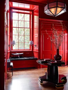 Decor ideas for your modern living room ! Take a look at this interior design trends to decor your living room! Red Interior Design, Interior Design Inspiration, Red Design, Interior Walls, Modern Interior, Red Interiors, Colorful Interiors, Decorating Your Home, Interior Decorating
