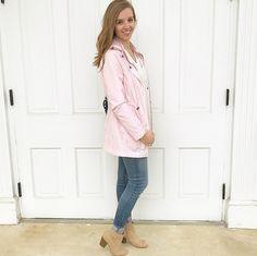 Blush rain jacket for spring