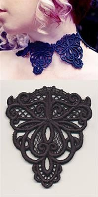 Urban Threads: Unique and Awesome Embroidery Designs Machine Embroidery Patterns, Hand Embroidery, Embroidery Designs, Lace Necklace, Choker Lace, Lace Art, Plus Size Patterns, Urban Threads, Ribbon Work