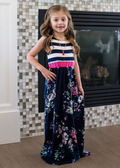 ef110525c Navy Floral and Stripes Tank Maxi, Online Boutique, Online Shopping,  Fashion, Fashion. Ryleigh Rue Clothing by MVB
