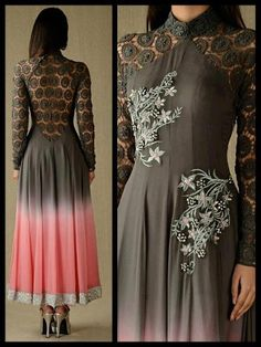 beautiful color combo. brown and pink anarkali with lace back and arm detailing.