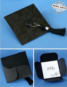Folded Graduation Cap Card. This graduation cap card is so funny and perfect for its folding design to hold a gift card inside. Fold and flip cardstock, stamp messages on the gift card, tuck flaps, create a tassel and add button to the center to finish off its gorgeous design.