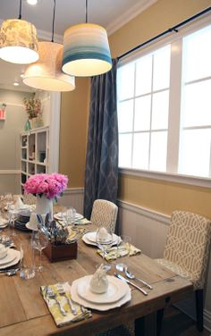 IHeart Organizing: Targets Real Life Dollhouse Display love the idea of the 3 lampshades over the table! Dining Room Inspiration, Home Decor Inspiration, Dining Table Lighting, I Love House, Rustic Table, Farmhouse Table, Barbie Doll House, Contemporary Chairs, Yellow Walls