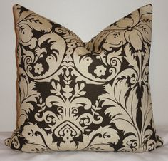 Brown+Damask+Decorative+Pillow+Cover+Throw+Pillow+by+HomeLiving,+$16.00 18""