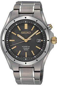 SEIKO SKA495P1Mens KineticTitanium Case  BraceletTwo Tones100m WRSKA495 ** Read more  at the image link.