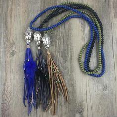 $16.99 Wood Beaded Buddha Necklace | Tassel Necklace | Mala Necklace