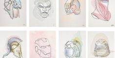 Featured Image for Helmets of famous pop culture characters made from one unbroken line