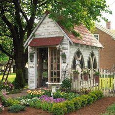 beautiful greenhouse potting shed
