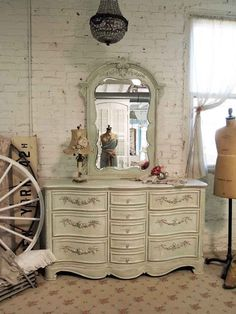 Painted Cottage Chic Shabby Sage Romantic by paintedcottages, $1495.00
