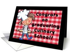 Culinary School Graduation Greeting card by Christie Black Creations