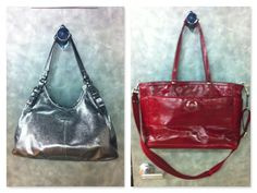 Coach platinum handbag (left). Coach large red tote (right) at Clothes Mentor.