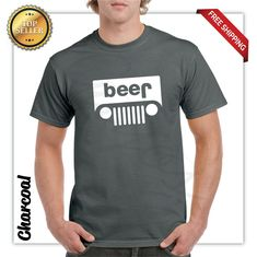 Beer Jeep Logo Parody Drinking Humor Mens Graphic T-Shirt Funny Logo Parody Tee  - Funny Shirts - Ideas of Funny Shirts #funnyshirts #funnytees