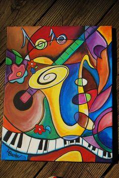 Acrylic Paintings 93329 Articles similaires à All That Jazz Vivid & Original Acrylic Painting 16 x 20 inch gallery wrapped canvas sur Etsy Arte Jazz, Jazz Art, Jazz Music, Arte Pop, Pop Art, Cubism Art, Music Painting, Guitar Art, Oeuvre D'art