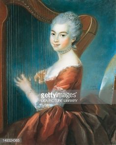 Kunst : Portrait of girl with harp, by Louis Vigee (1715-1767), pastel on paper
