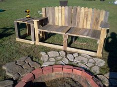 """My outdoor furniture made out of pallets! I call it my """"Tired of Waiting on My Husband to Help Me"""" table:-)  I did the firepit myself too! I guess I just need a blog."""