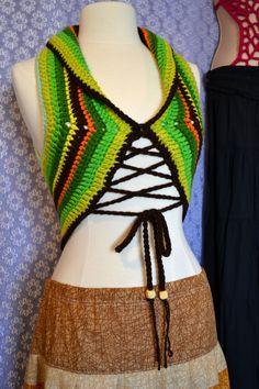 Sale Gypsy Hippie Pixie Vest Sweater Top Lotus by OrawanCrochet